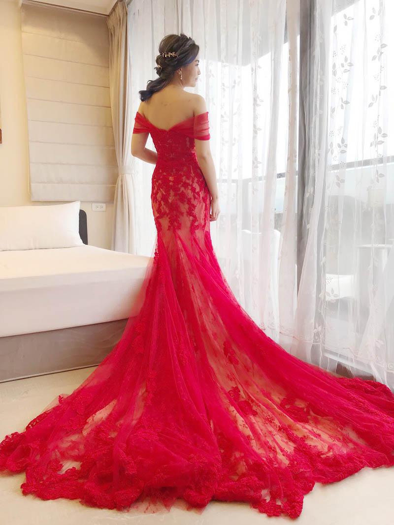 手工禮服,歐美款晚禮服,JM,紅色